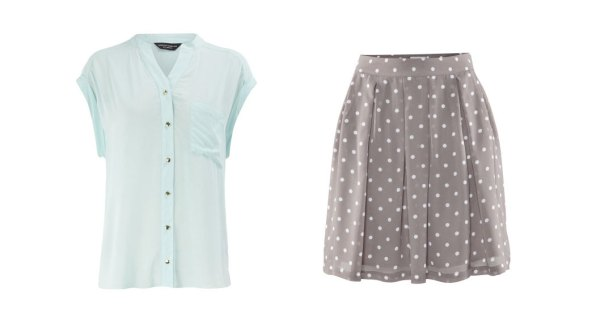 Mint Dorothy Perkins blouse and Mole spot skirt H&M