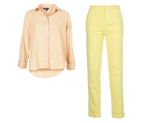 Peach Topshop Blouse and Carven Lemon Trousers