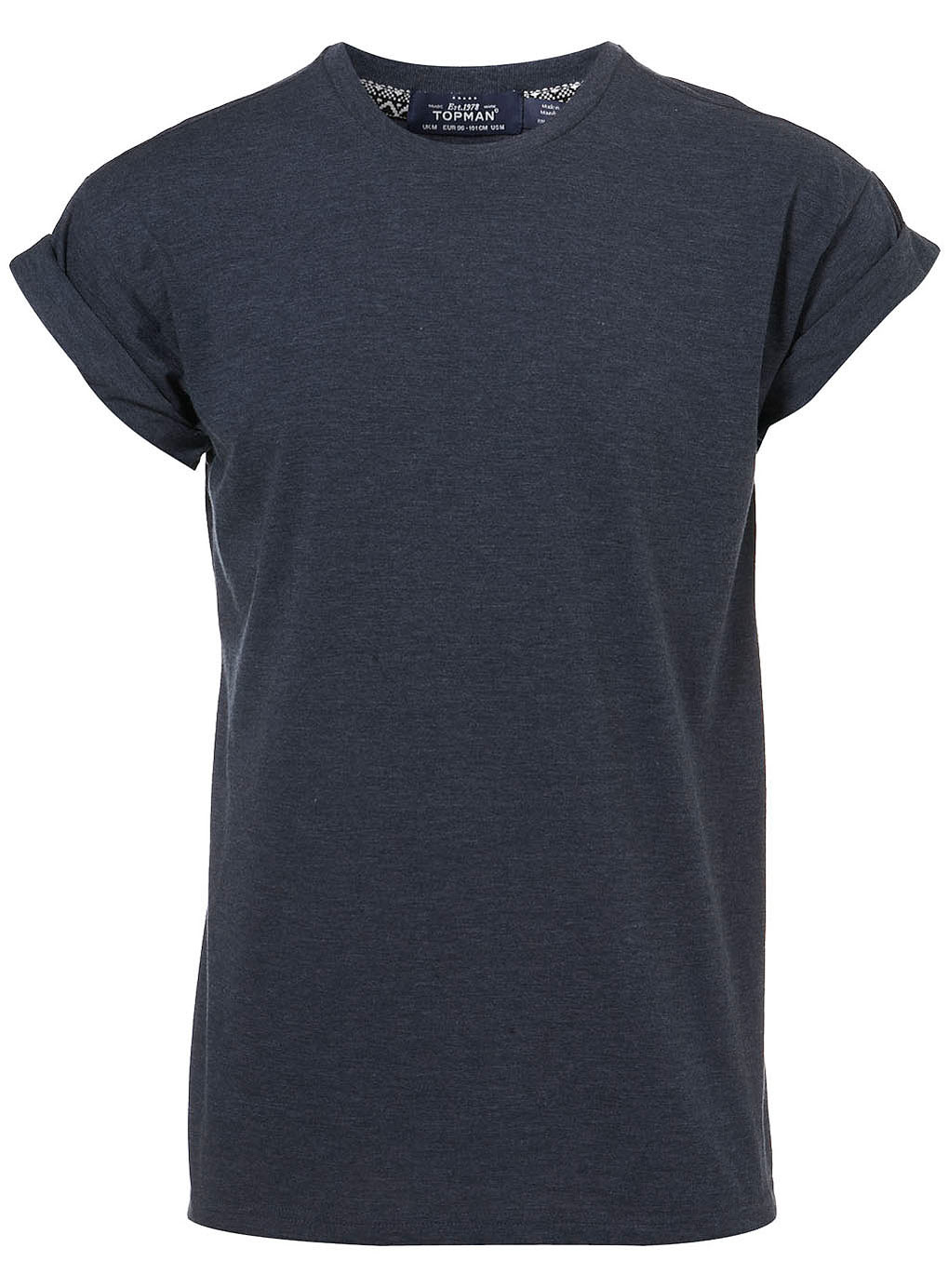 Black t shirt rolled up sleeves - Navy High Roll Up Sleeve Tee
